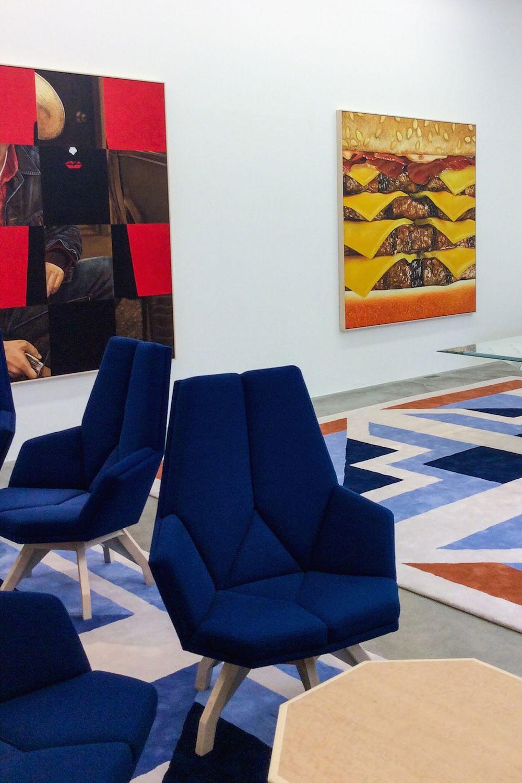 Mike Bouchet, Square Ruple, 2015, behind Pierre Paulin, Fauteuil Iéna chairs and Jardin à la française rug, 1987