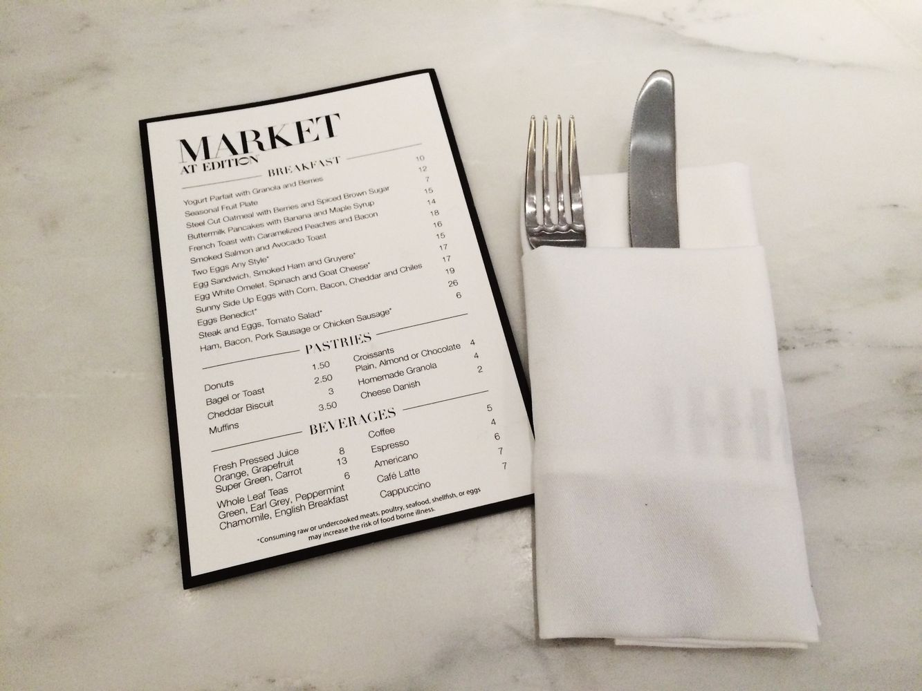 The Market by The Miami Beach Edition Hotel Menu