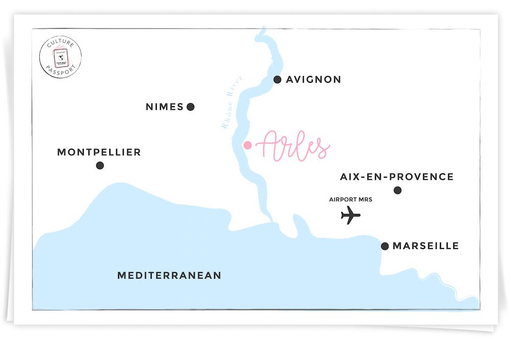 Arles, France Map