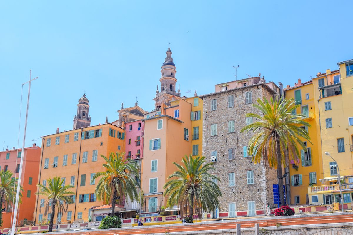menton menton colorful old town and beach in menton on french riviera in a beautiful summer. Black Bedroom Furniture Sets. Home Design Ideas