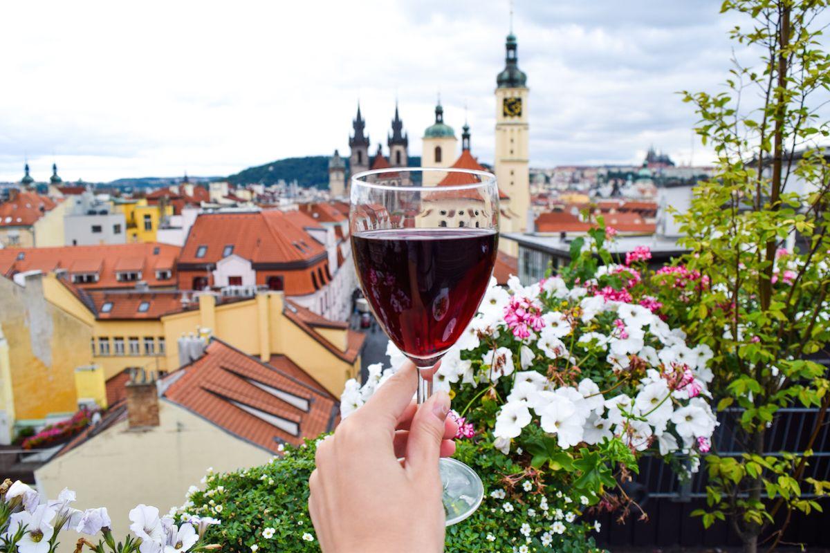 Best View in Prague, Wine from T-Anker, Prague