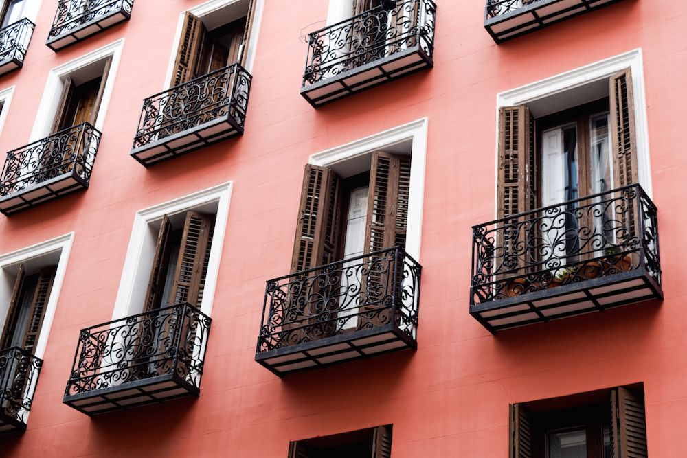 Pink architecture in Malasaña, Madrid