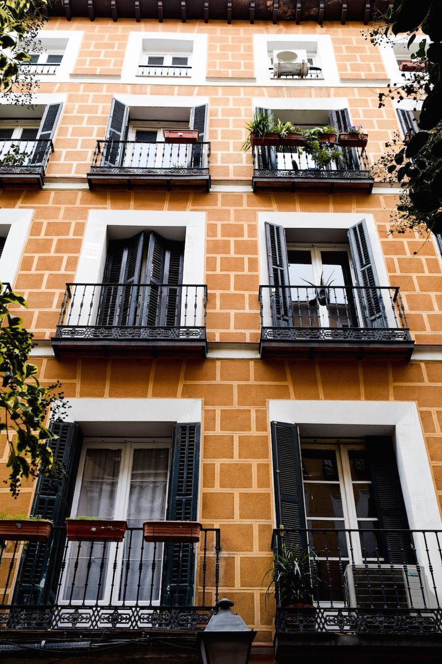 Orange architecture in Malasaña, Madrid