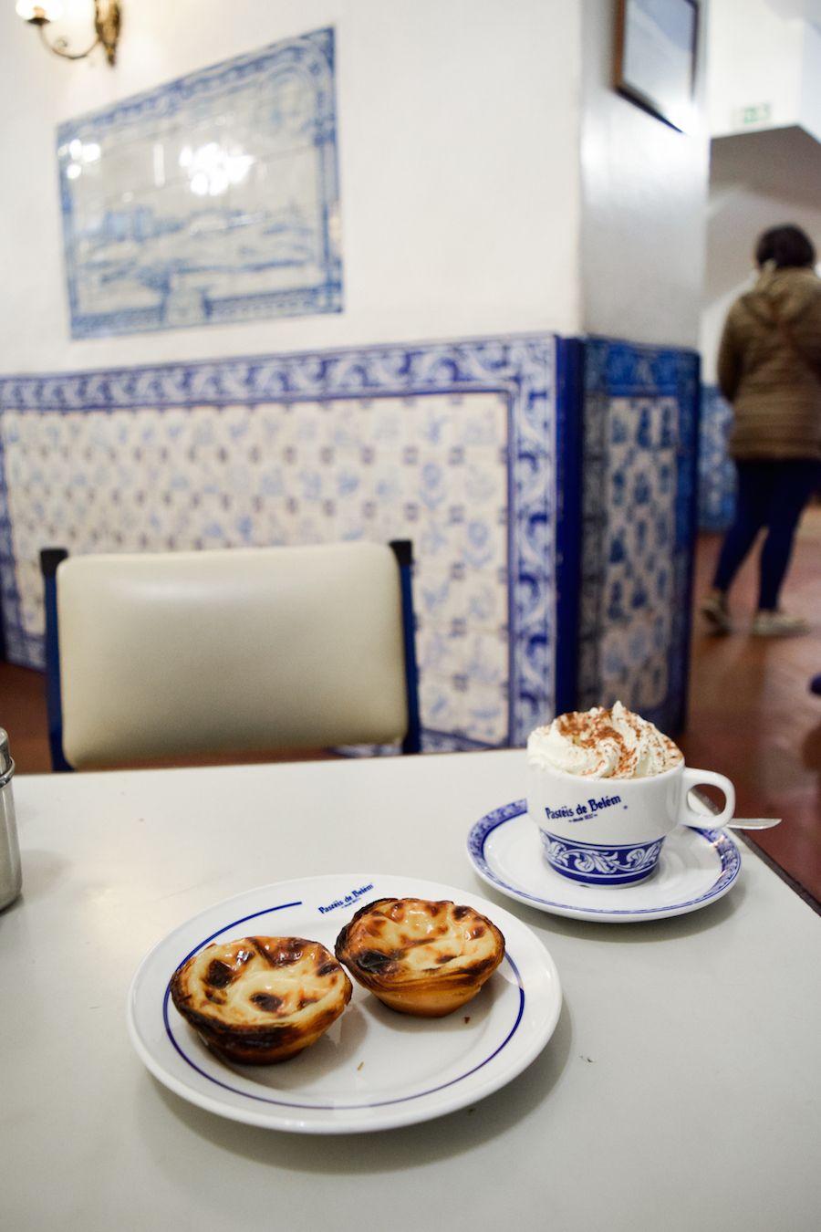 Cappuccino and Pastel de Nata, Pasteis de Belém, Lisbon, Portugal