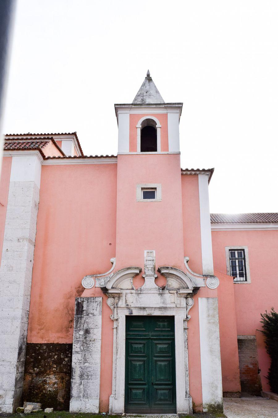 Pink Building East of Lisbon, Portugal