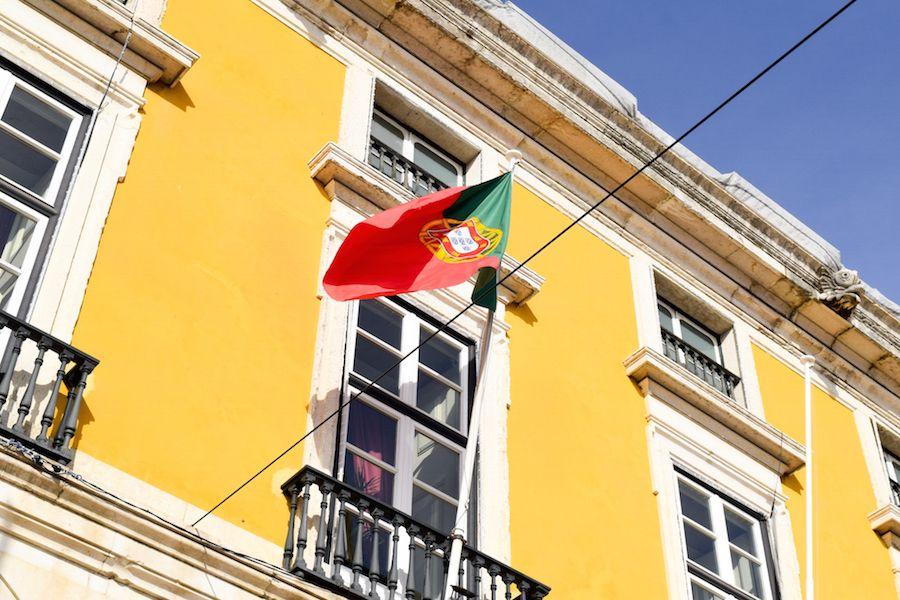 Praça do Comércio Portugese flag waving!