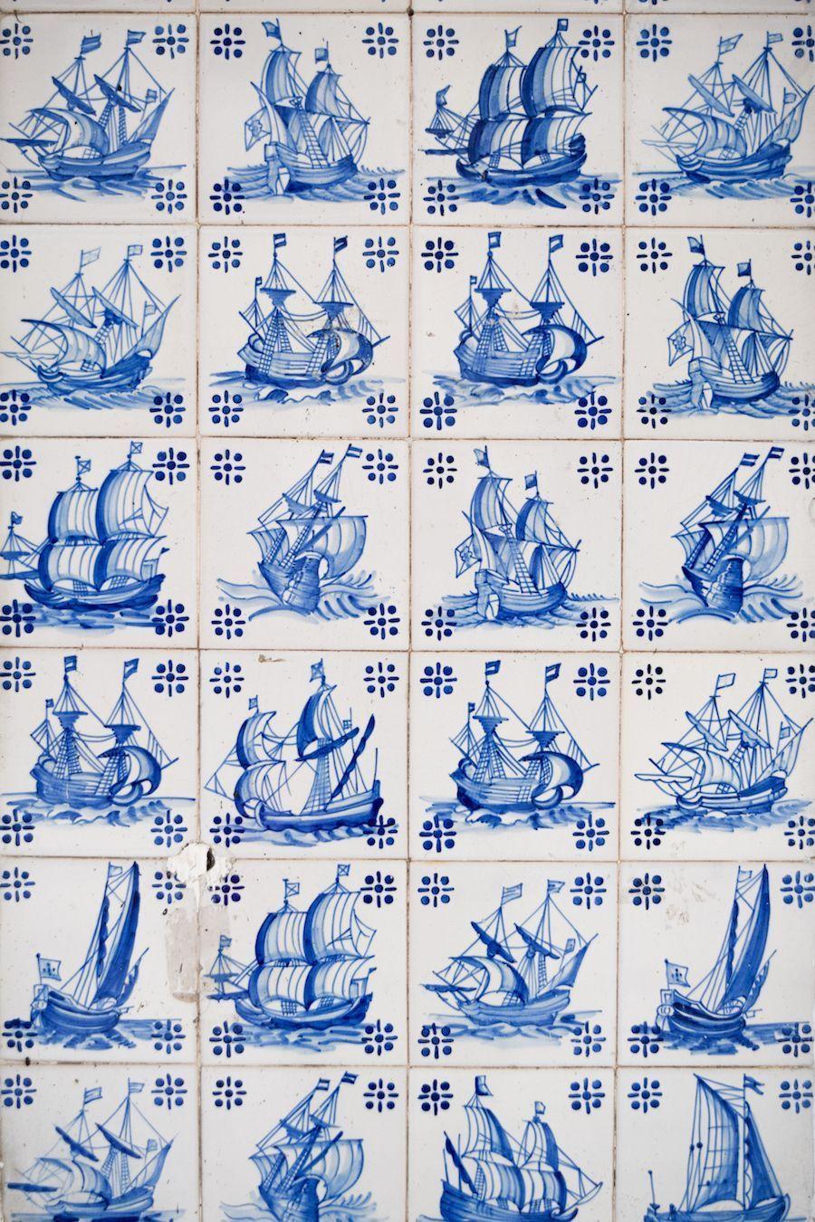 Gorgeous blue ship tiles in Lisbon Portugal