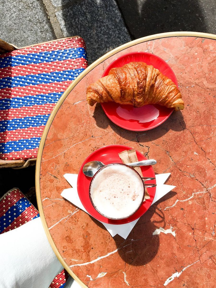 Morning coffee, croissant and newspaper in Paris