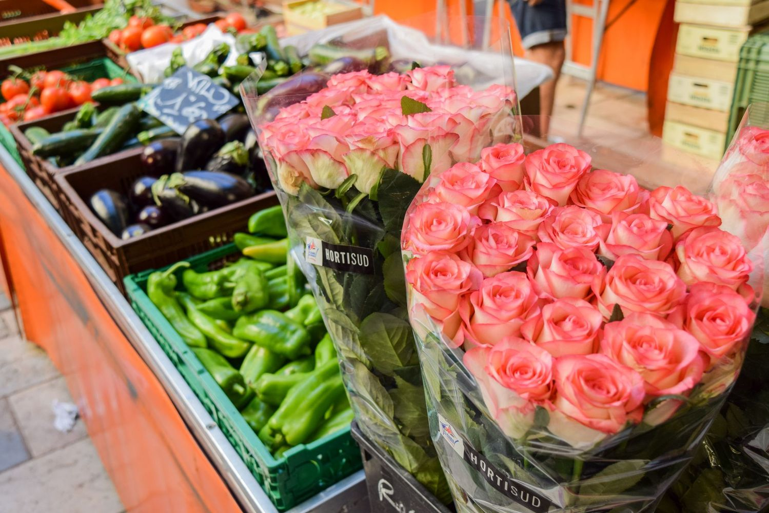 Pink roses at the Cours Lafayette Market Toulon, France