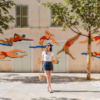Bathers public wall mural in Old Town Toulon, France