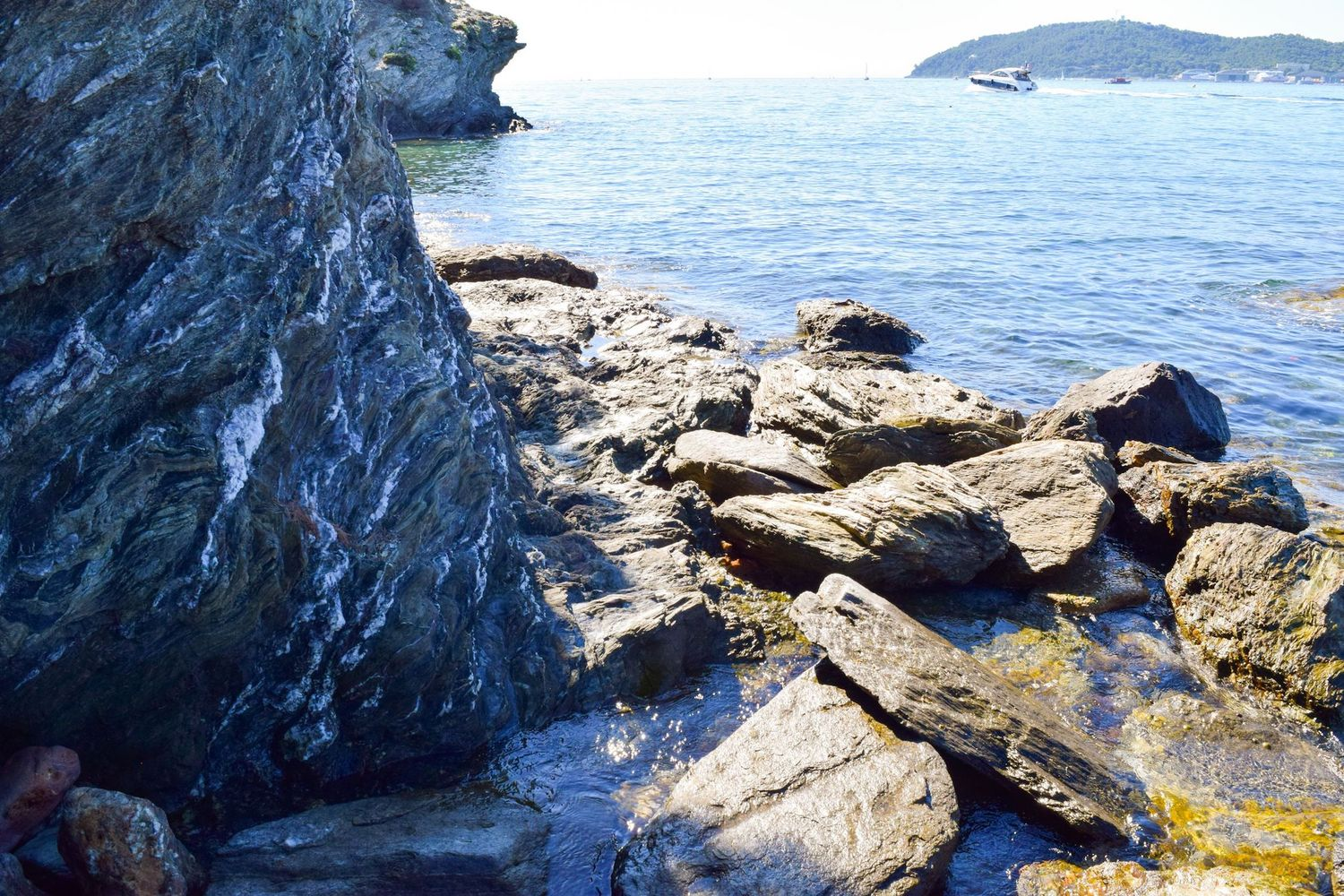 Walking along the rocky coast of Toulon towards Plage De La Mitre, France