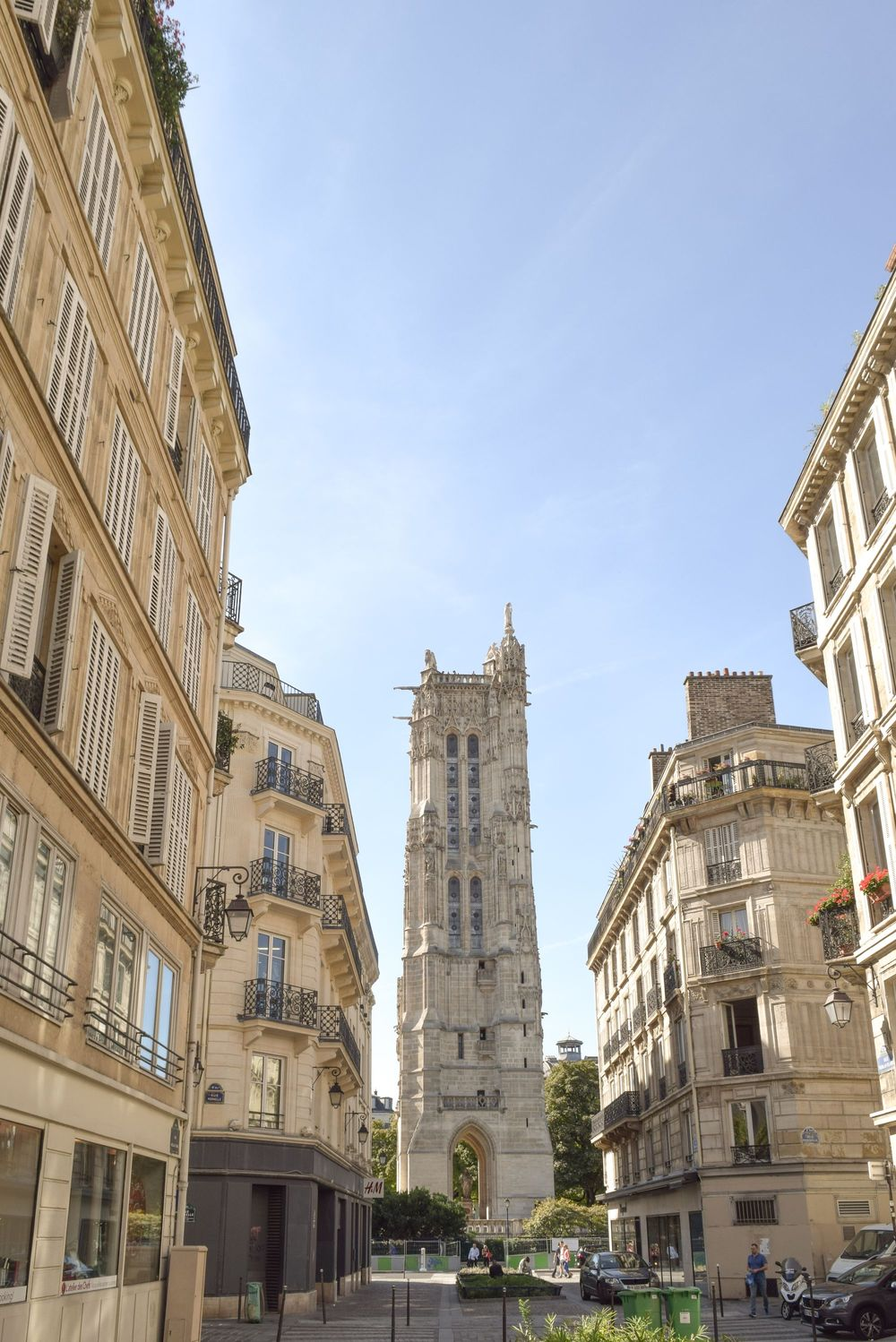 View of the Tour Saint Jacques from Rue Nicolas Flamel, Paris