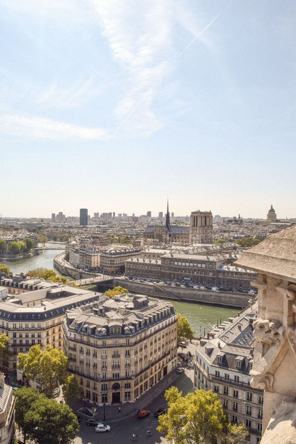 View of the Notre Dame and Seine River from the Tour Saint Jacques Paris