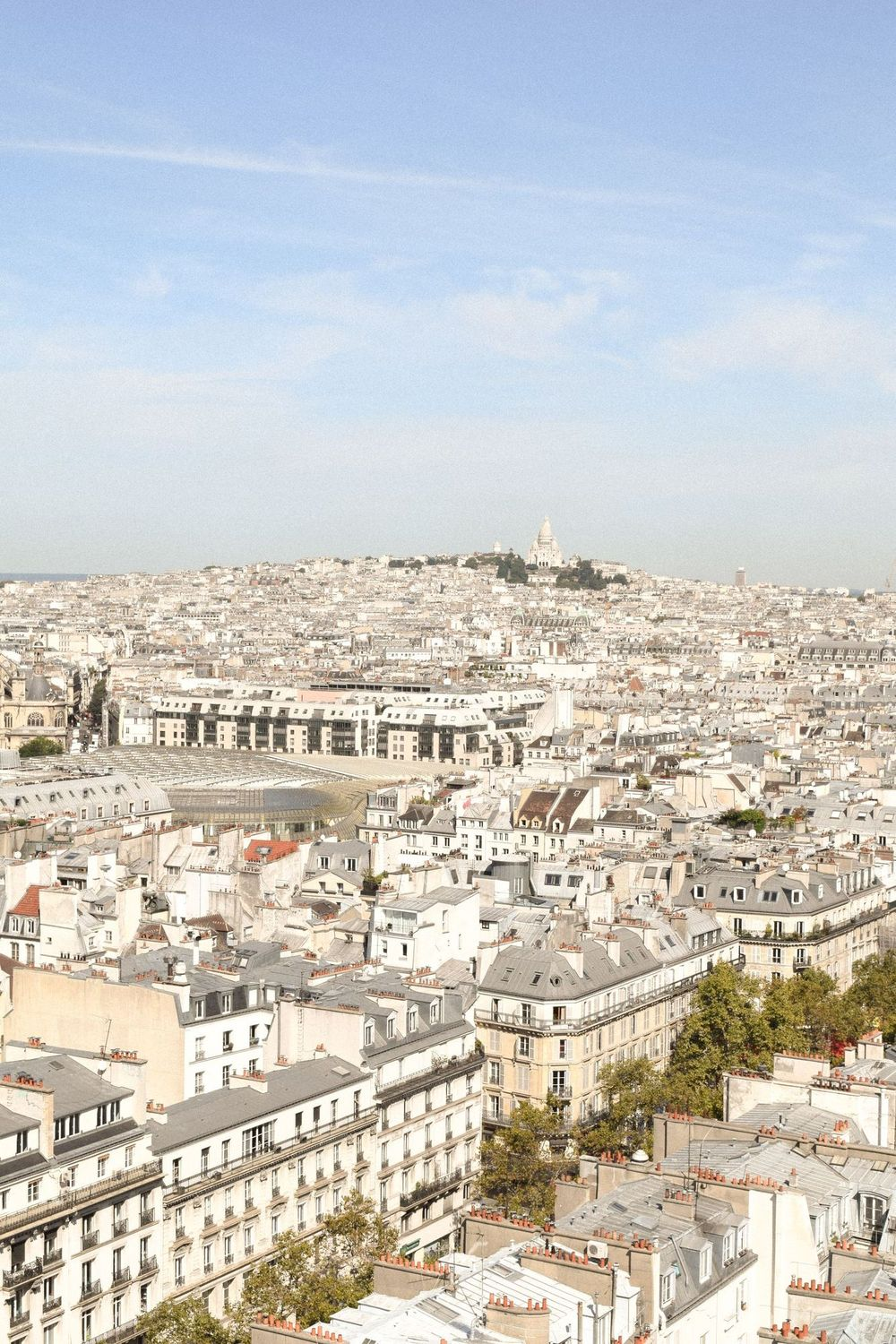 View of the Sacré Coeur in Montmartre from the Tour Saint Jacques Paris