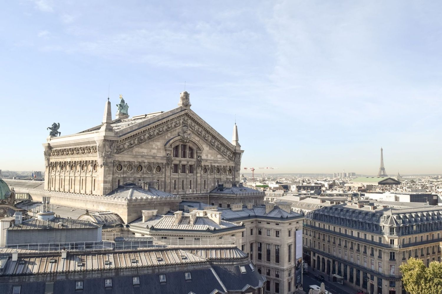 Galeries Lafayette Paris Rooftop view of Palais Garnier and Eiffel Tower