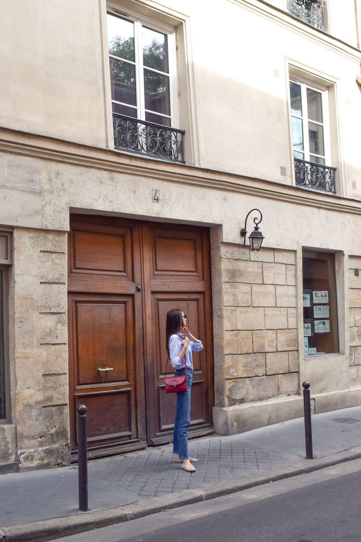 A beautiful brown door in Paris