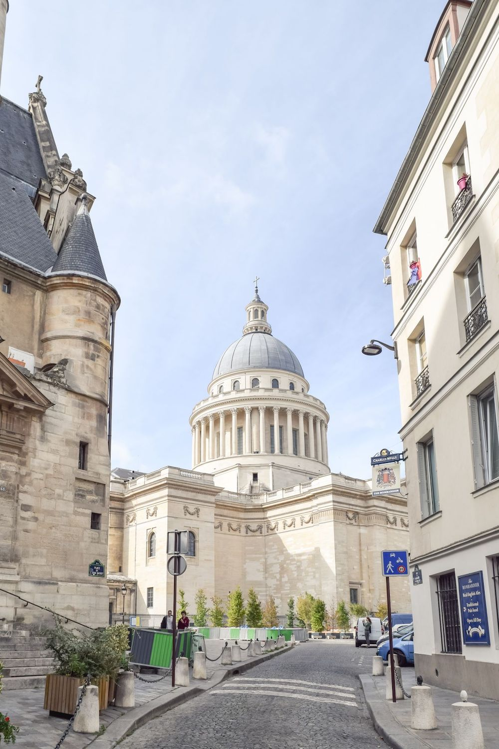 View of the Panthéon from Rue de la Montagne Sainte Geneviève in Paris