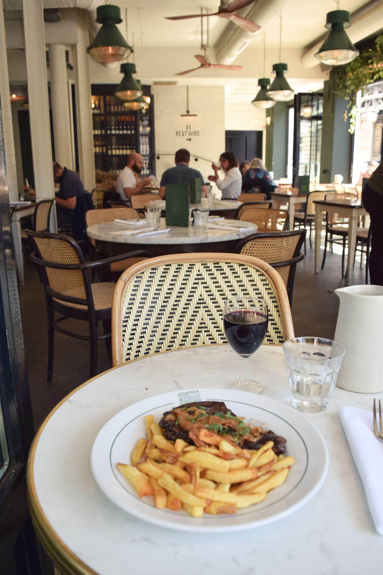 Steak Frites at Brasserie Barbes Restaurant, Paris