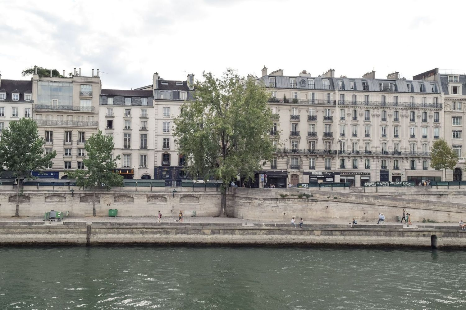 Parisian apartment buildings along the Seine River, Île de la Cité
