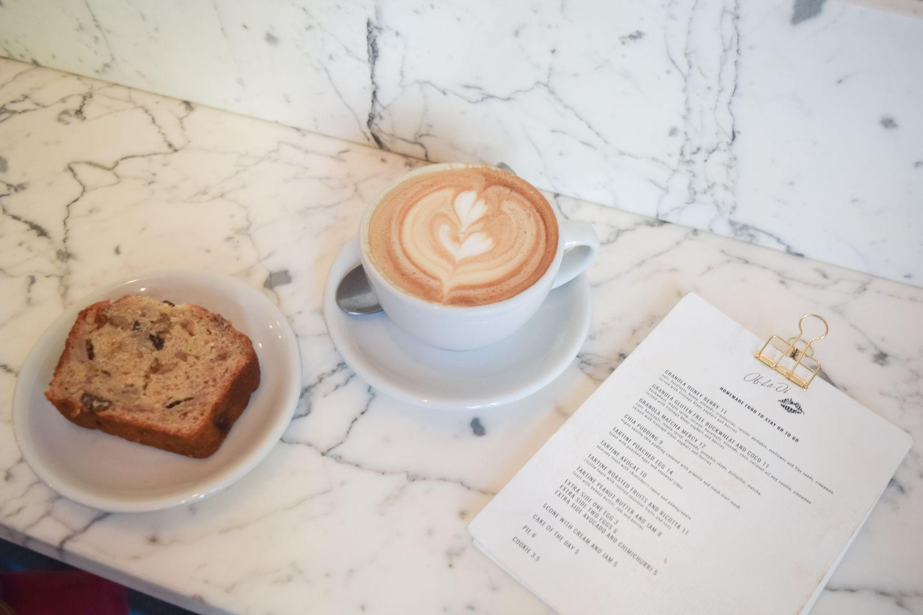 Banana Bread and Latte at Ob La Di Café, Paris