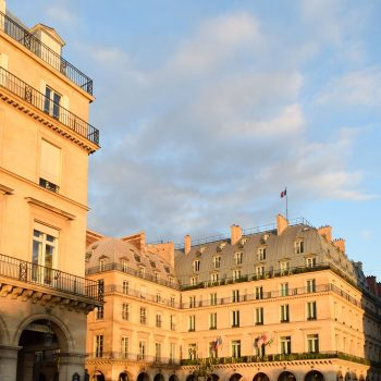 Hotel Regina at dusk on Rue De Rivoli, Paris, France