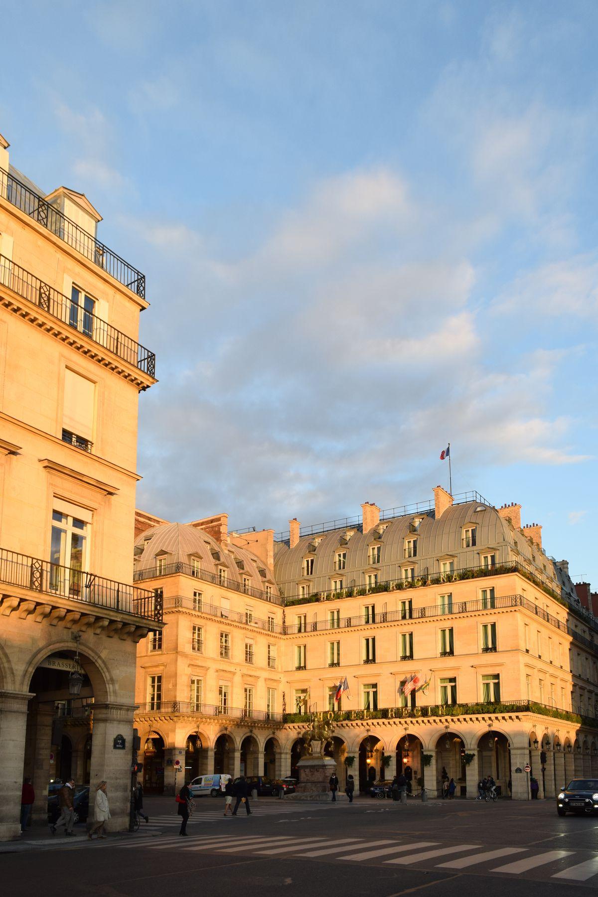 Hotel Regina at dusk on Rue De Rivoli, Paris, France
