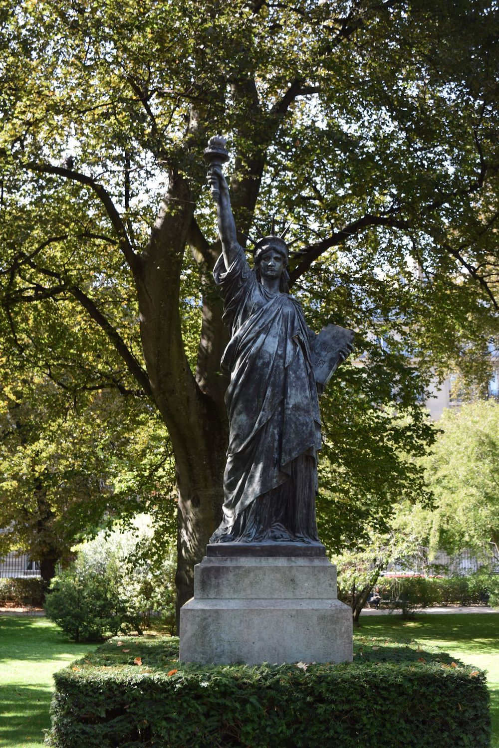 See the Statue of Liberty in the Jardin Du Luxembourg, Paris