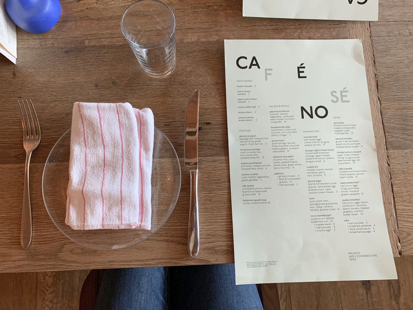 Cafe No Sé Menu, Austin