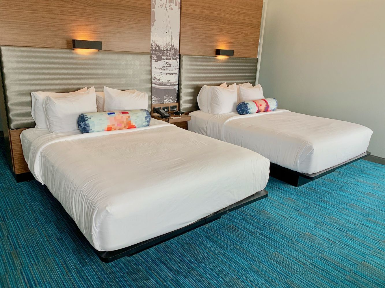 Two Queen beds at the Corpus Christi Aloft Hotel