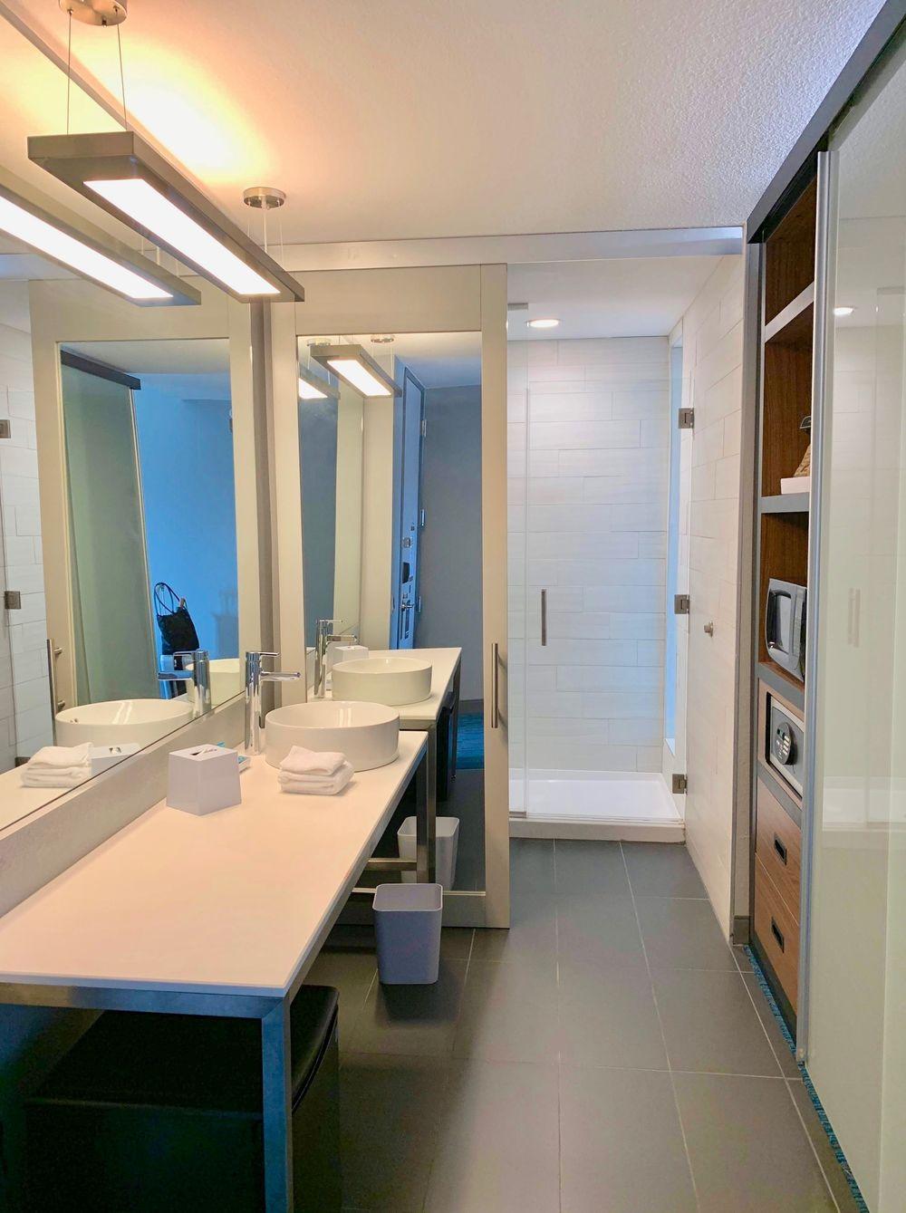 Spacious Bathroom at the Corpus Christi Aloft Hotel