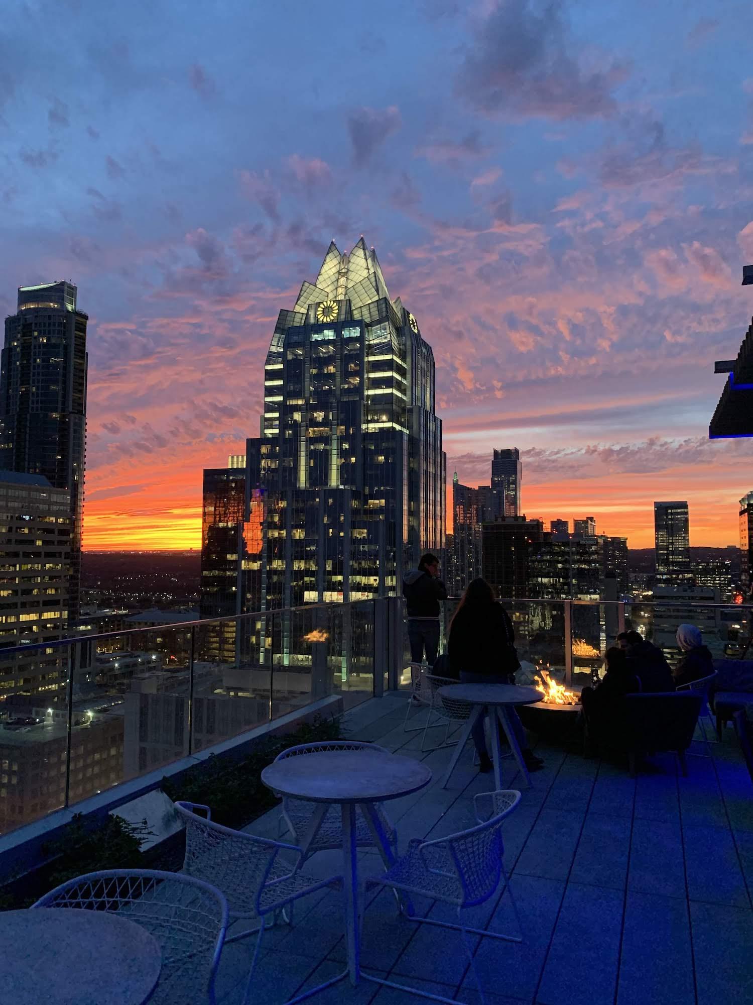 Westin Austin Downtown Hotel Rooftop Bonfire Pit