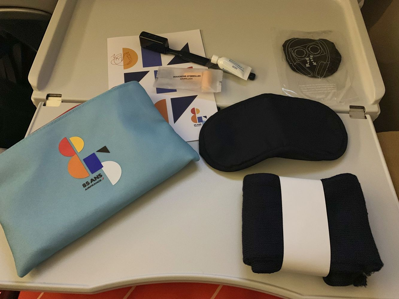 Air France Premium Economy Blue Pouch with In-flight Goodies