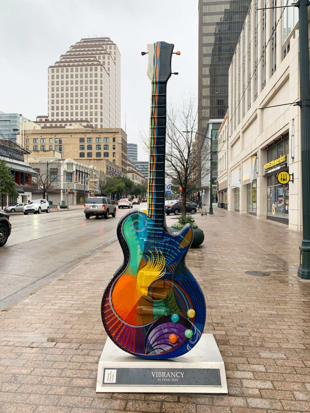 Austin colorful guitar sculpture in Downtown