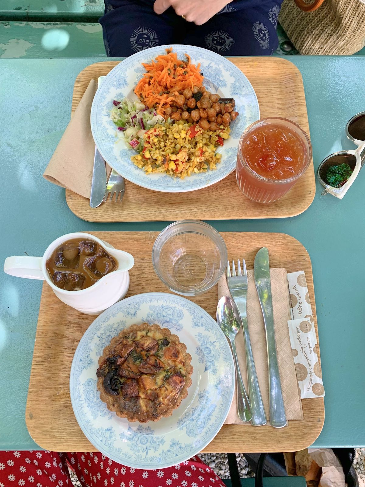 Seasonal Salad and Quiche at Rose Bakery in the hidden garden courtyard of the Musée de la Vie Romantique