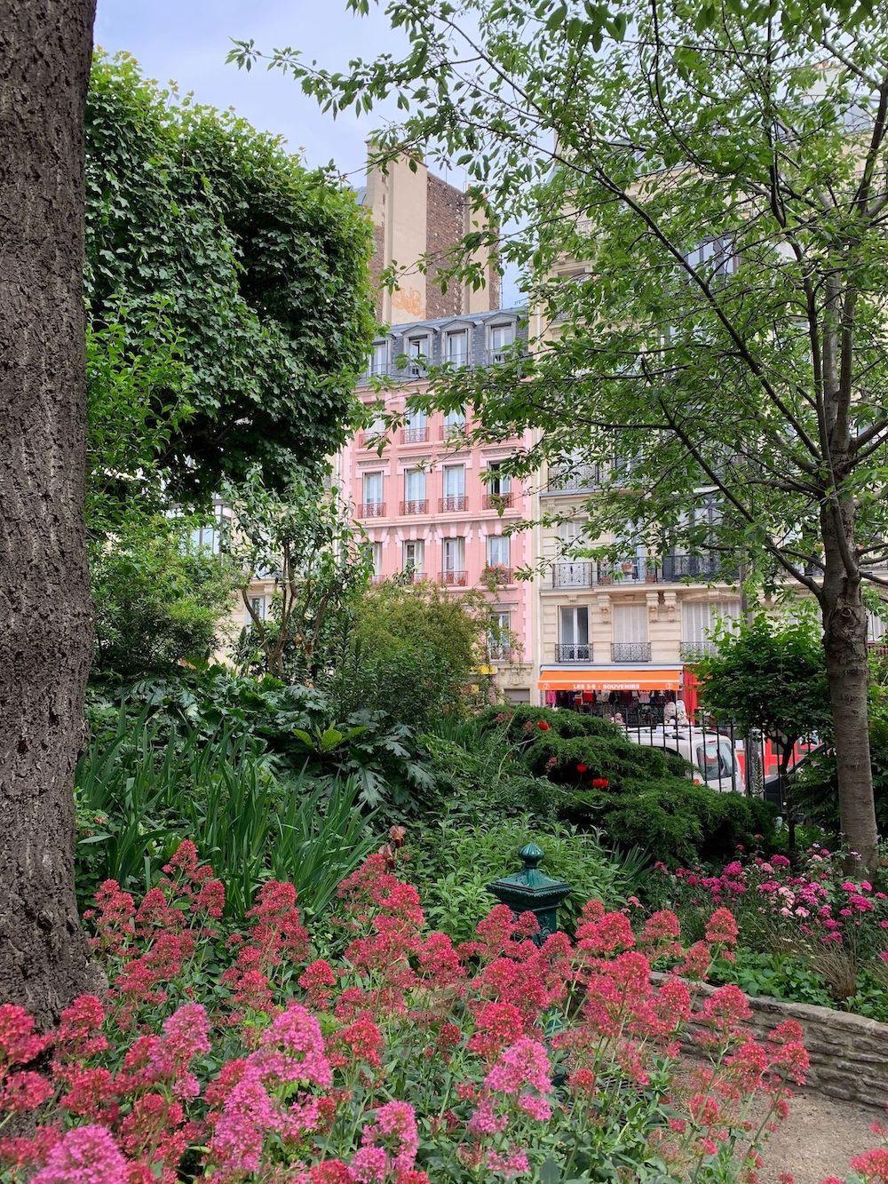 The cute pink apartment building in Paris
