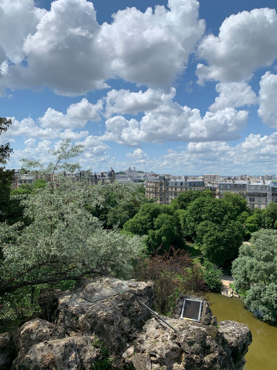 View of Montmartre from Parc Des Buttes Chaumont, Paris, France